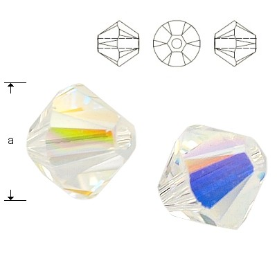 5328 Bicone 3mm Crystal AB 10pcs