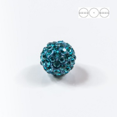 Discoball Bead 10mm Blue Zircon