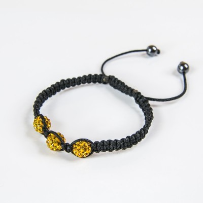 Bransoletka Shamballa 3x 10mm Light Topaz