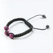 Shamballa Bracelet 3x 10mm Violet