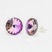 Swarovski Rivoli Earrings 12mm Violet
