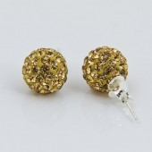 Discoball Earrings 10mm Golden Shadow Sterling Silver