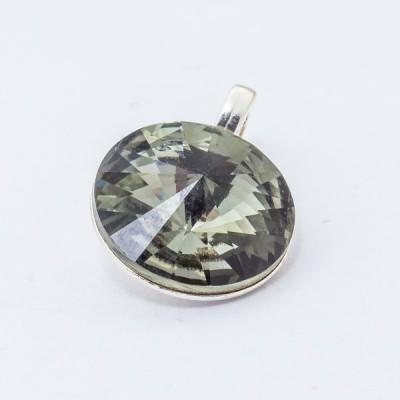 Silver plated Swarovski Rivoli Pendant 12mm Black Diamond