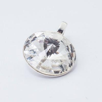 Silver plated Swarovski Rivoli Pendant 12mm Crystal