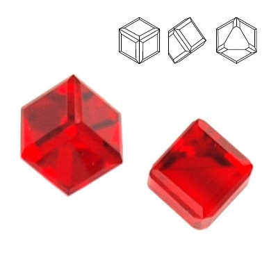 Swarovski 4841 Cube Kostka 4mm Light Siam CAVZ