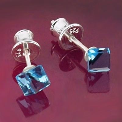 Kolczyki Swarovski srebrne 925 Cube 4mm Aquamarine