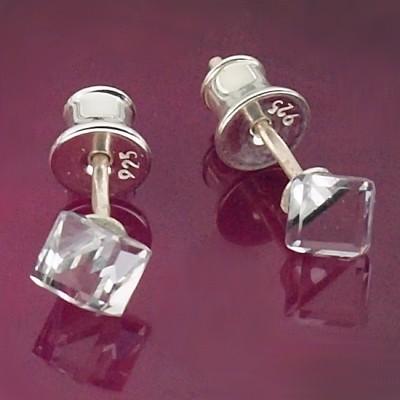 Kolczyki Swarovski srebrne 925 Cube 4mm Crystal CAL