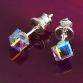 Kolczyki Swarovski srebrne 925 Cube 4mm Vitrail Medium