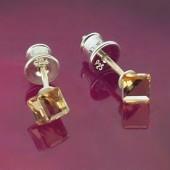 Kolczyki Swarovski srebrne 925 Cube 4mm Crystal AB