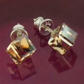 Kolczyki Swarovski srebrne 925 Cube 6mm Crystal CAL