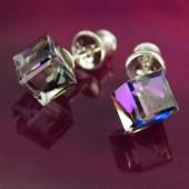 Kolczyki Swarovski srebrne 925 Cube 6mm Golden Shadow