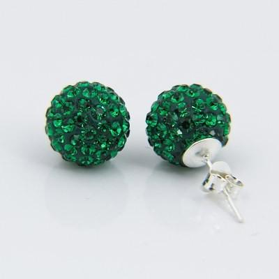 Kolczyki Discoball 8mm Emerald Srebro 925