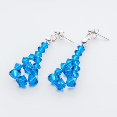 Swarovski Bicone Earrings 45mm Capri Blue