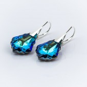 Swarovski Octagon Earrings 14mm Violet Blue AB