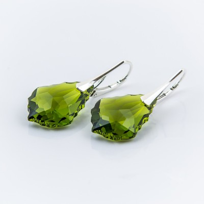 Swarovski Baroque Earrings 22mm Olivine