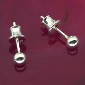 Kolczyki srebrne kulki 925 3mm
