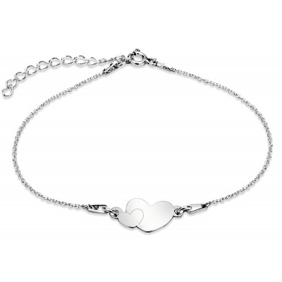 Sterling Silver Braclet Celebrities Two Hearts