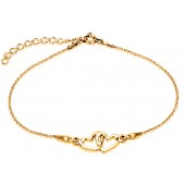 Sterling Silver Gold Plated Braclet Celebrities Two Hearts