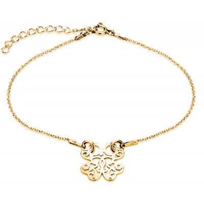 Sterling Silver Gold Plated Braclet Celebrities Four-Leaf Clover