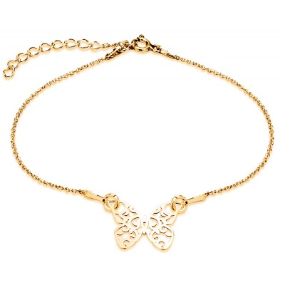 Sterling Silver Gold Plated Braclet Celebrities Butterfly