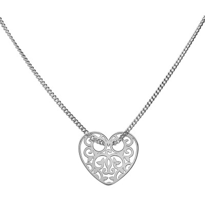 Sterling Silver Necklace Celebrities Heart 42+4cm