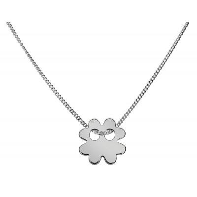 Sterling Silver Necklace Celebrities Four-leaf Clover 42+4cm