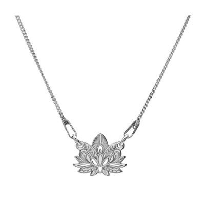 Naszyjnik celebrytka srebrny 925 kwiat lotosu