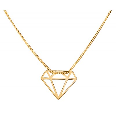 Sterling Silver Gold Plated Necklace Celebrities Diamond 42+4cm