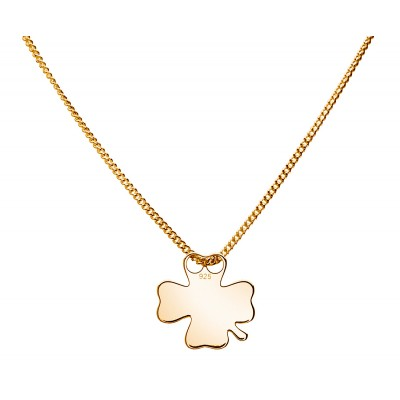 Sterling Silver Gold Plated Necklace Celebrities Four-leaf Clover 42+4cm