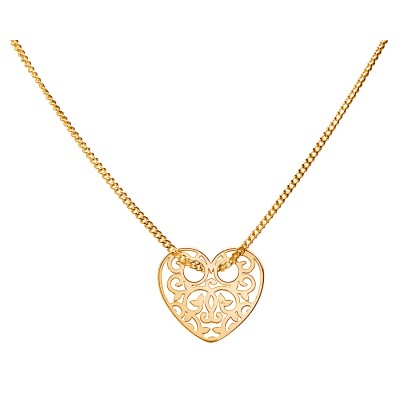 Sterling Silver Gold Plated Necklace Celebrities Heart 42+4cm