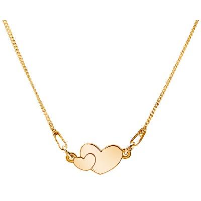Naszyjnik celebrytka srebrny 925 złocony dwa serca