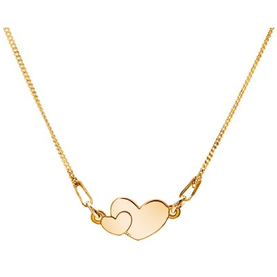 Sterling Silver Gold Plated Necklace Celebrities Two Hearts
