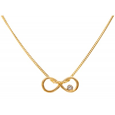 Sterling Silver Gold Plated Necklace Celebrities Infinity 42+4cm