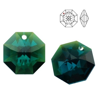 8115 Octagon 14mm Emerald Blue AB