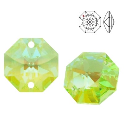 8116 Octagon 14mm Light Peridot Blue AB