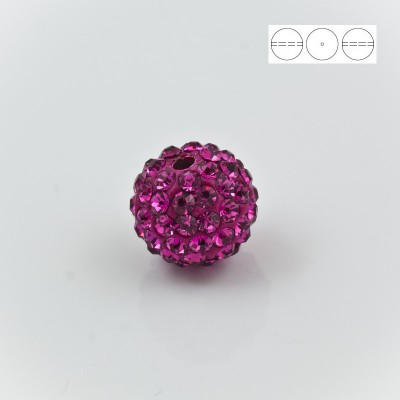 Discoball Bead 10mm Fuchsia